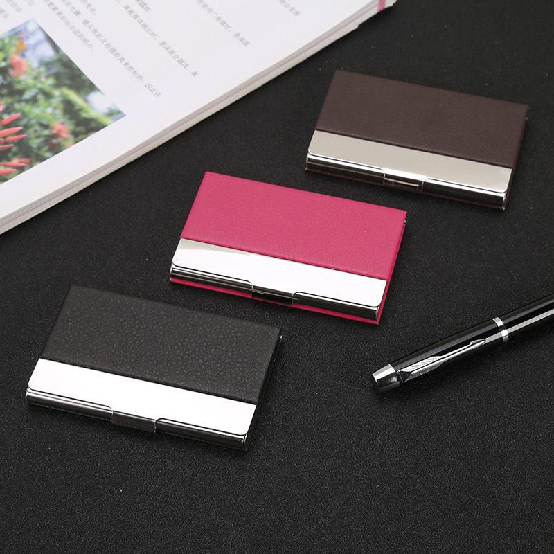 Manufacturers Direct Selling Stainless Steel Business Card Holder Metal Cardcase Embossed Leather Card Case Customizable Logo