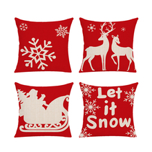 1Pc Mery Christmas Pillowcase Linen Cushion Covers Elk Santa Claus Creative Office Home Decor Snowflake Pillow Cover