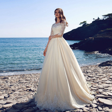 Verngo Ball Gown Wedding Dress Boho Princess Wedding Gowns Lace Appliques Bride Dress Full Sleeves Vestido De Noiva 2019 verngo ball gown wedding dress appliques tull wedding gowns lace up bride dress princess wedding dress destido de noiva sereia