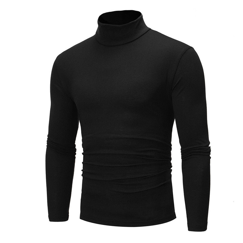 4 Colors Winter Autumn Men Thermal Turtle Neck Pullover Basic Tee Stretch Crew Neck High Quality T-shirts Plus Size M-2XL