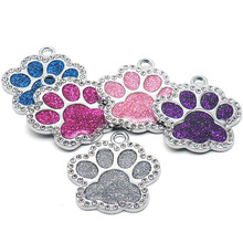 Wholesale 100Pcs  Rhinestone Custom Dog Tag Engraved Pet Dog Collar Accessories Personalized Puppy ID Tag Paw Name Tags Pendant