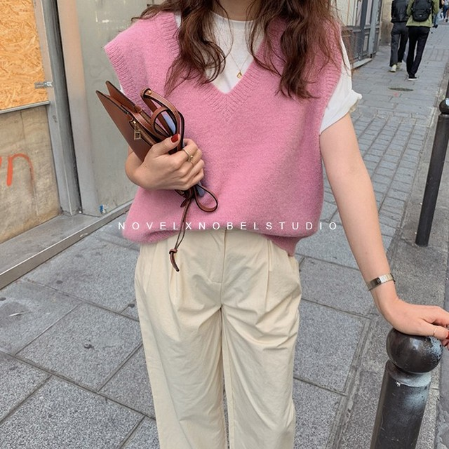 New V neck Girls Pullover vest sweater Autumn Winter Pink Knitted Women Sweaters vest Sleeveless Warm Sweater Casual oversize 1