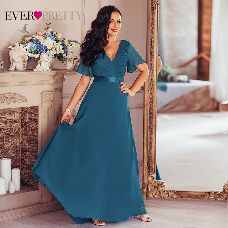Plus Size Evening Dresses Ever Pretty V-neck Nay Blue Elegant A-line Chiffon Long Party Gowns 2020 Short Sleeve Occasion Dresses