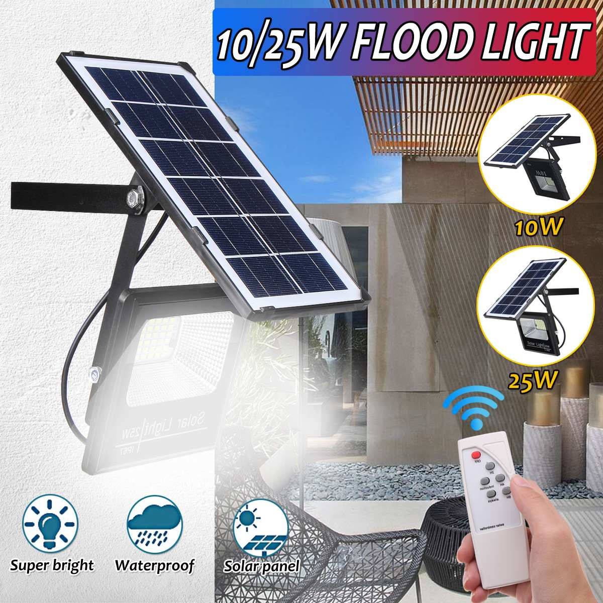Solar Floodlight Led Portable Spotlight Floodlight 10/25W Outdoor Street  Garden Light Waterproof Wall Lamp With Remote Control