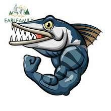 EARLFAMILY 13cm x 11.2cm dla Cartoon Strong Angry Barracuda Fish wodoodporne odporne na zarysowania naklejki i kalkomanie samochodowe