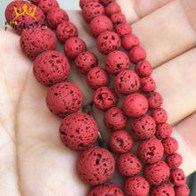 Doğal taş boncuk kırmızı Lava hematit yuvarlak boncuk takı yapımı için volkanik kaya boncuk diy bilezik kulak çıtçıt 15 ''4 6 8 10mm