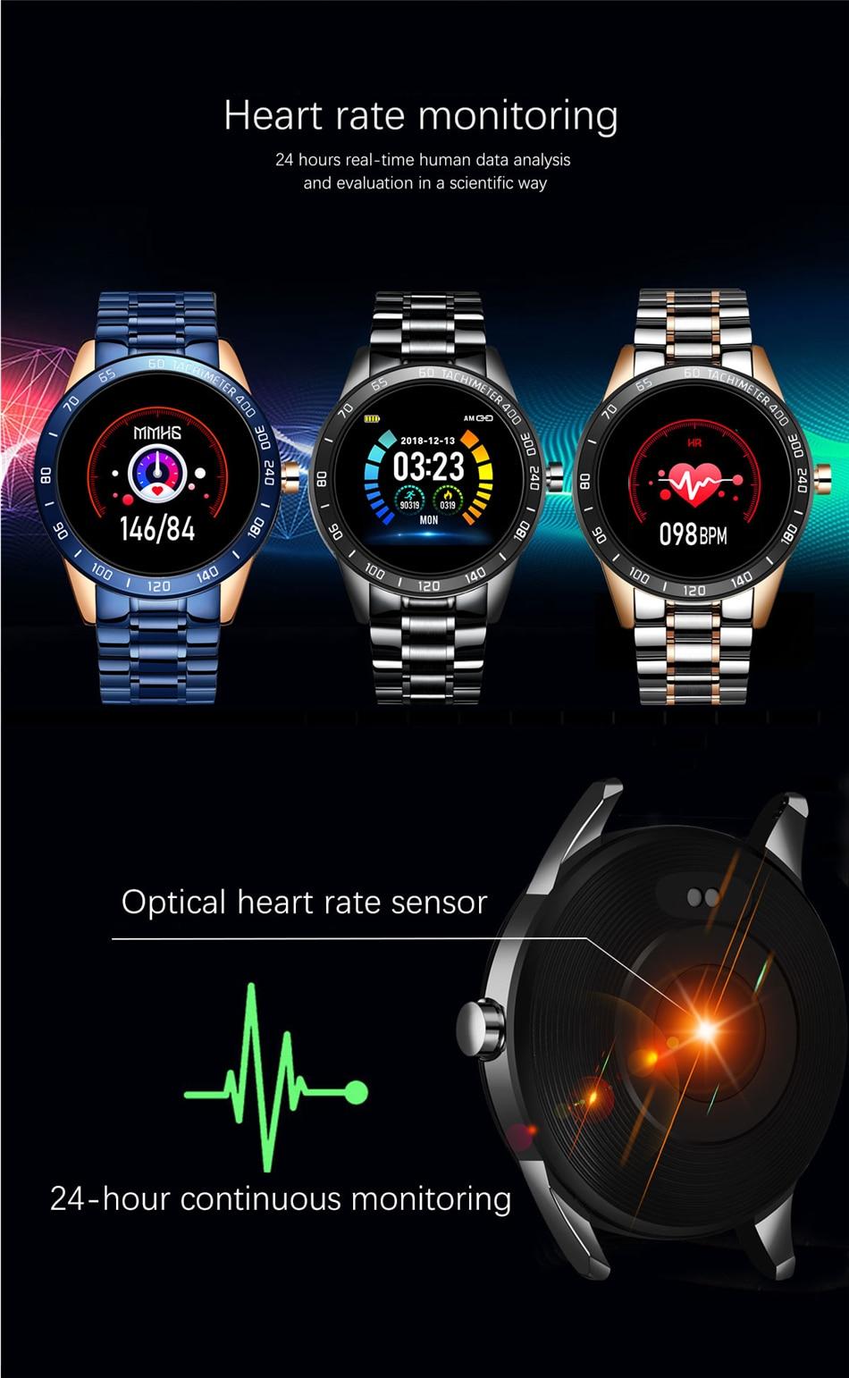 H07ffb8e94e69467290b2462ce173b928i LIGE Steel Band Smart Watch Men Heart Rate Blood Pressure Monitor Sport Multifunction Mode Fitness Tracker Waterproof Smartwatch
