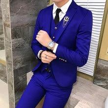 Luxo royal men terno 3 pçs conjunto de moda boutique único botão cor sólida vestido de casamento novo magro negócio banquete formal vestido