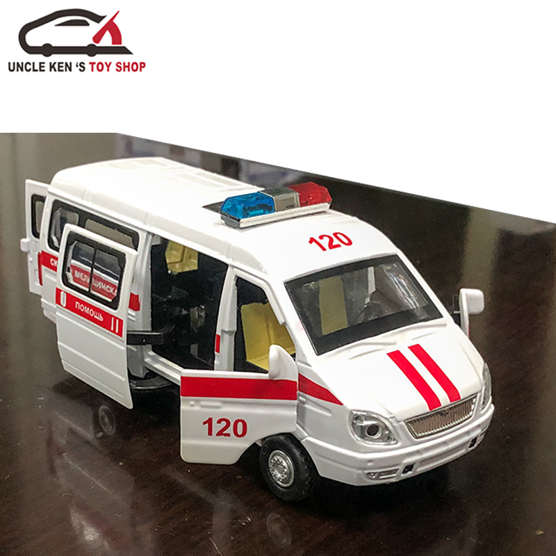 Diecast Russian GAZ Gazel Scale Ambulance Model, Metal Police Toys Taxi Cars For Boys Or Kids As Gifts With Functions