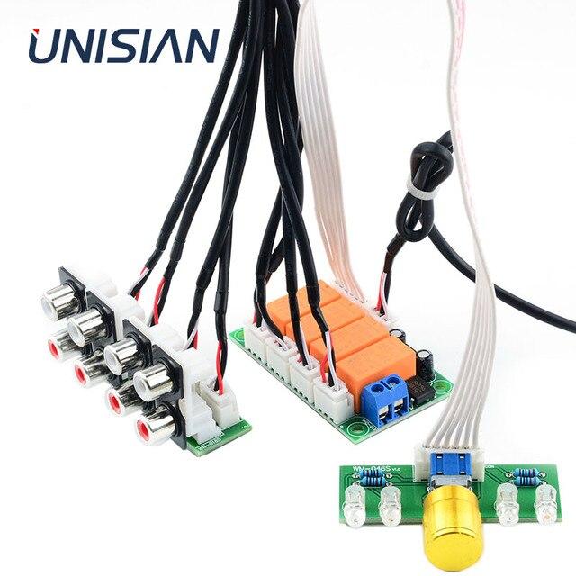 UNISIAN ses giriş seçimi kurulu röle 4 yönlü ses sinyal girişi 1 yollu out potansiyometre kontrol anahtarlama amplifikatör