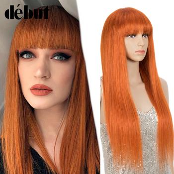 Debiut proste włosy ludzkie peruki z grzywką 99J kolorowe brazylijski peruki z włosów typu Remy pomarańczowy niebieski ludzkich włosów pełne peruki 16-28 tanie peruki tanie i dobre opinie debut CN (pochodzenie) Remy włosy Brazylijski włosy Średnia wielkość Średni brąz Ciemniejszy kolor tylko Swiss koronki