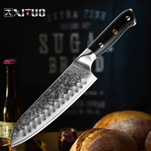XITUO Damascus Santoku Knife VG10 Steel Japanese Kitchen Chef Knife Sharp Cleaver Sushi Gyuto Anti-stick G10 Handle Cooking Tool