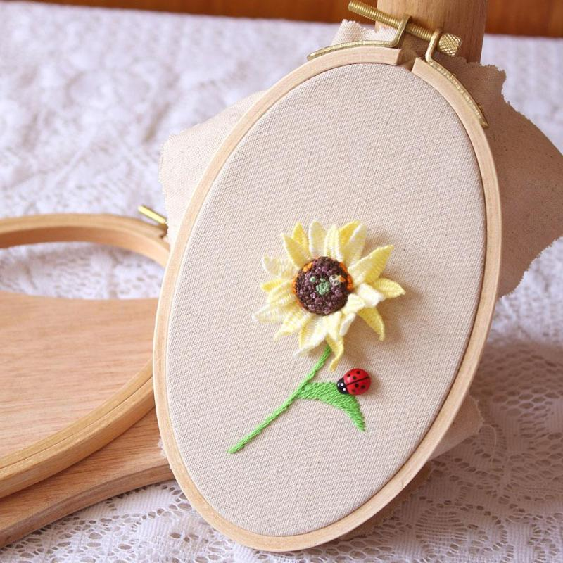 Wooden Bamboo Embroidery Frame Oval Embroidery Hoop Ring Cross Stitch Machine DIY Needlecraft Household