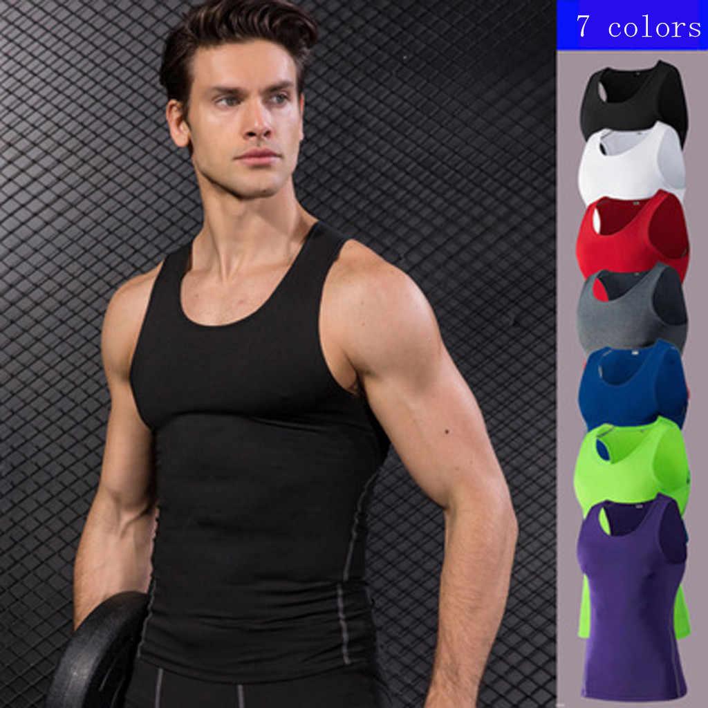 Mens Running Vest Gym Sleeveless Shirt Summer Slim Tank Men Sport Vest Top Workout Training Man Singlet Bodybuilding Sport A1030
