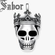 頭蓋骨の王王冠ペンダントファッション高級ジュエリーシルバー色ヴィンテージ反乱のためのフィットネックレストーマス