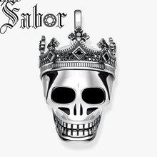 الجمجمة الملك مع تاج قلادة مجوهرات فاخرة أنيقة فضية اللون Rebel المتمردين هدية للنساء الرجال صالح قلادة توماس