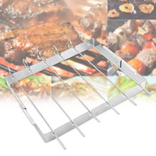 Sticks Barbecue Flat Tool Stainless Steel Grilling Simple Reusable Outdoor Forks BBQ Skewers Superior Rack Included Durable(China)