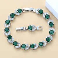 925 Sterling Argento di Qualità di Hight Verde Creato Smeraldo Braccialetto di Salute del Gioelleria raffinata e alla moda Per Le Donne di Trasporto Contenitore di Monili SL128
