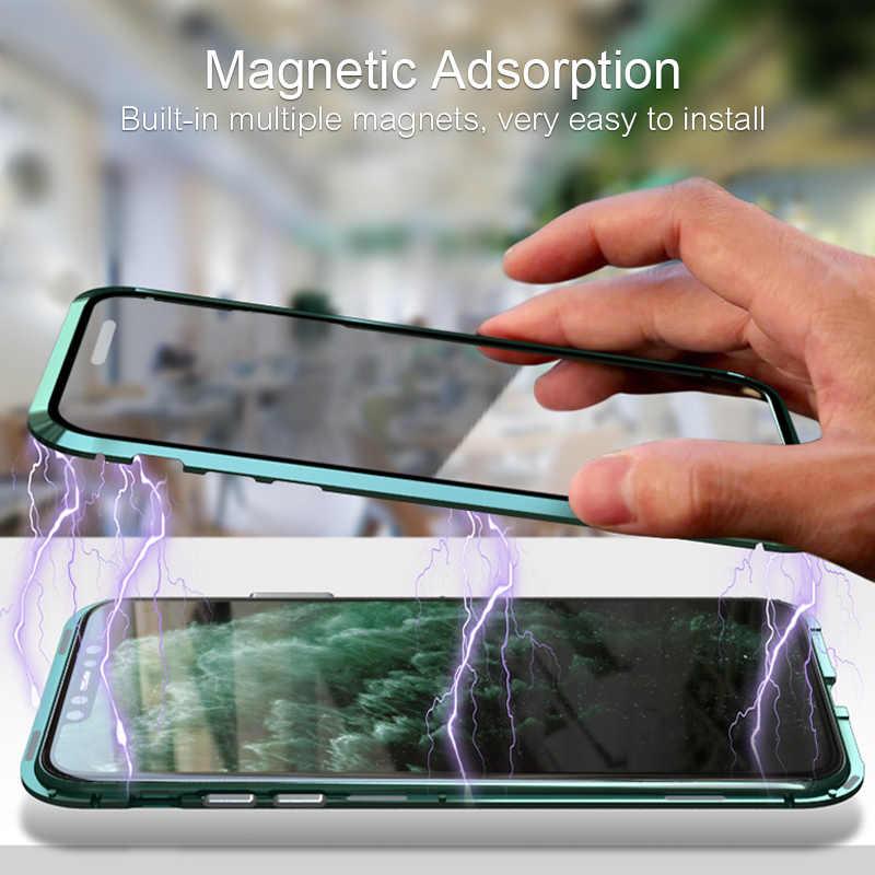 Luxo Metal de Alumínio Bumper Transparente Dupla Face de Vidro 11 Pro Max Ímã Magnético Caso Por iPhone 360 Casos de Proteção cobrir