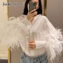 TWOTWINSTYLE Casual Patchwork Feather Blouse For Women Lapel Lantern Sleeve White Solid Shirt Female Fashion New Clothing 2020