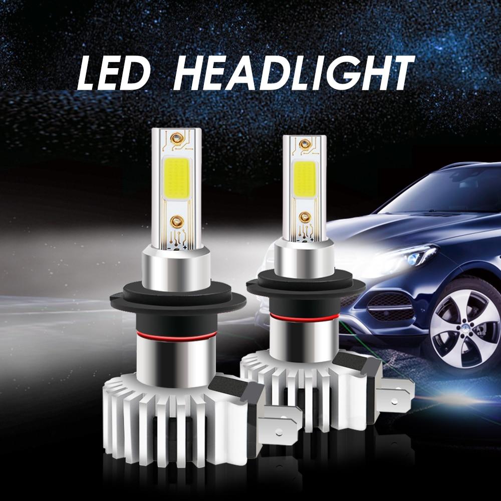 2 шт. 9005/HB3 H4 HB2 9003 H8 H9 H11 H7 H27 canbus автомобиля светодиодный головной светильник лампы 100W COB супер мини туман светильник фары 12V 20000LM