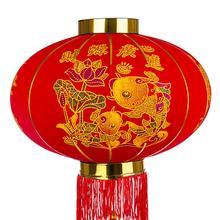 Прямая Круглая Большая красная рыба фонарь флокированная ткань открытый год Китайский Весенний фестиваль украшение фонарь-богатство богатый
