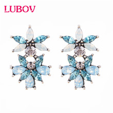 LUBOV Vintage Bohemia Natural Stone Black Crystal Big Earring For Women Fashion Jewelry Green Flower Dangle Drop Earrings Bijoux