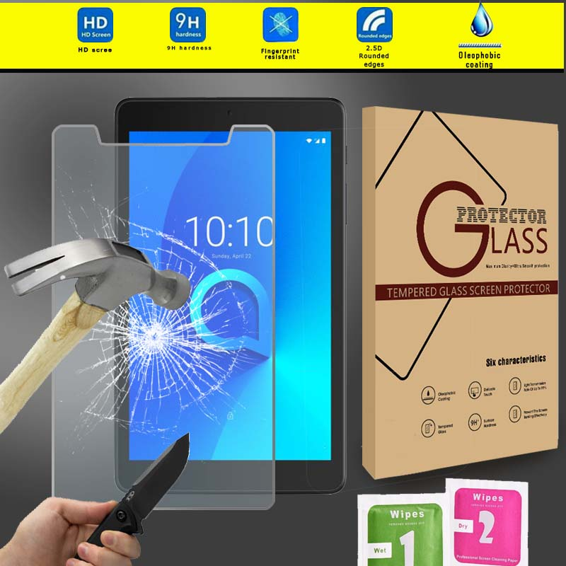 KK&LL For Alcatel 3T 8 Inch - Tablet Tempered Glass Screen Protector 9H Clear Film Cover With Retail Pack