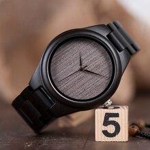 בובו ציפור עץ שעון relogio masculino גברים אבוני פגזי עור רצועת קוורץ שעוני יד חג המולד מתנה הטובה ביותר מתנה במכירות להתמודד