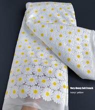 Encaje francés suave muy pesado, tela de tul africano bordada súper ordenada, 5 yardas, ropa tradicional informal de lujo
