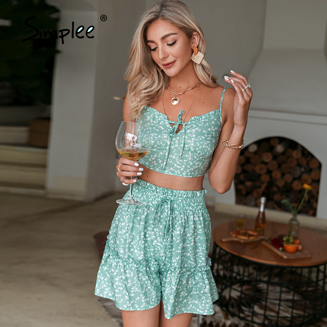 Simplee Green floral print two pice up suit Sapaghetti strap boho lace up sets woman Elegant elastic waist slim set 2021 summer 6