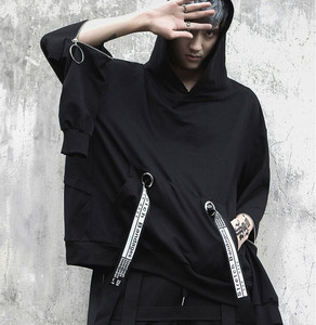 Image 2 - Mannen oversized lange mouwen t shirt linten hip hop punk mantel heren nachtclubzangeres stadium kostuum hooded shirts streetwear