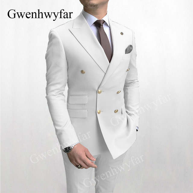Gwenhwyfar Sky Blue Men Suits Double Breasted 2020 Latest Design Gold Button Groom Wedding Tuxedos Best Costume Homme 2 Pieces 4