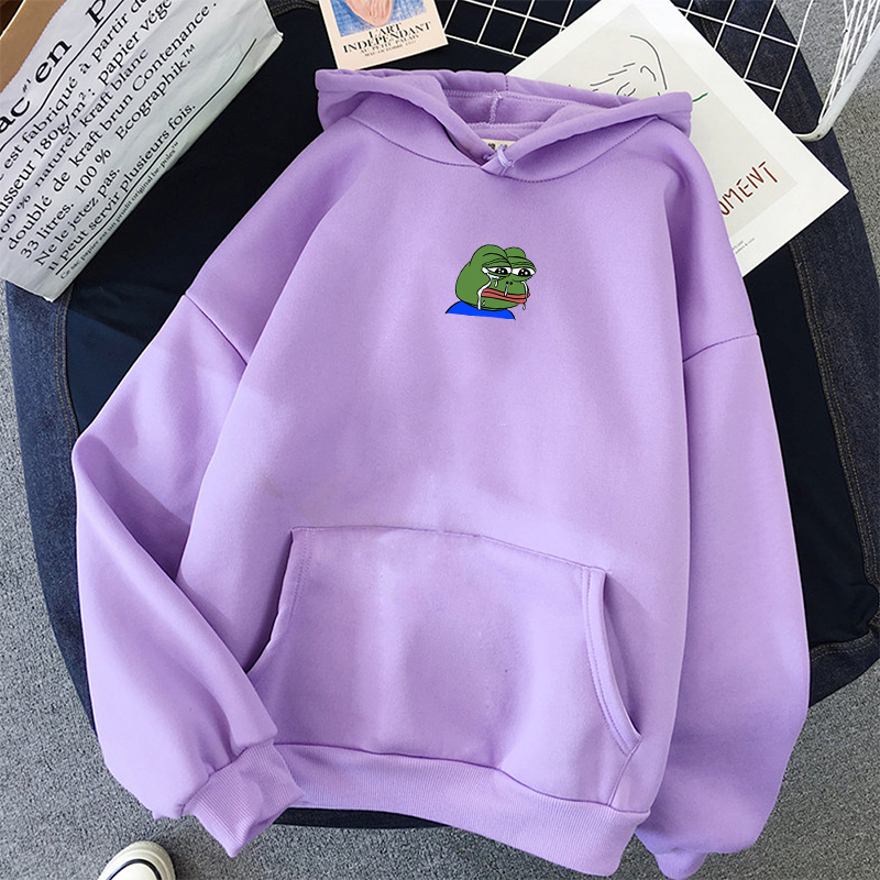 Sad Tearing Frog Print Hoodies Women Graphic Funny Hooded Sweatshirts Harajuku Hip Hop Hoodie Sweatshirt Female Casual Hoodies