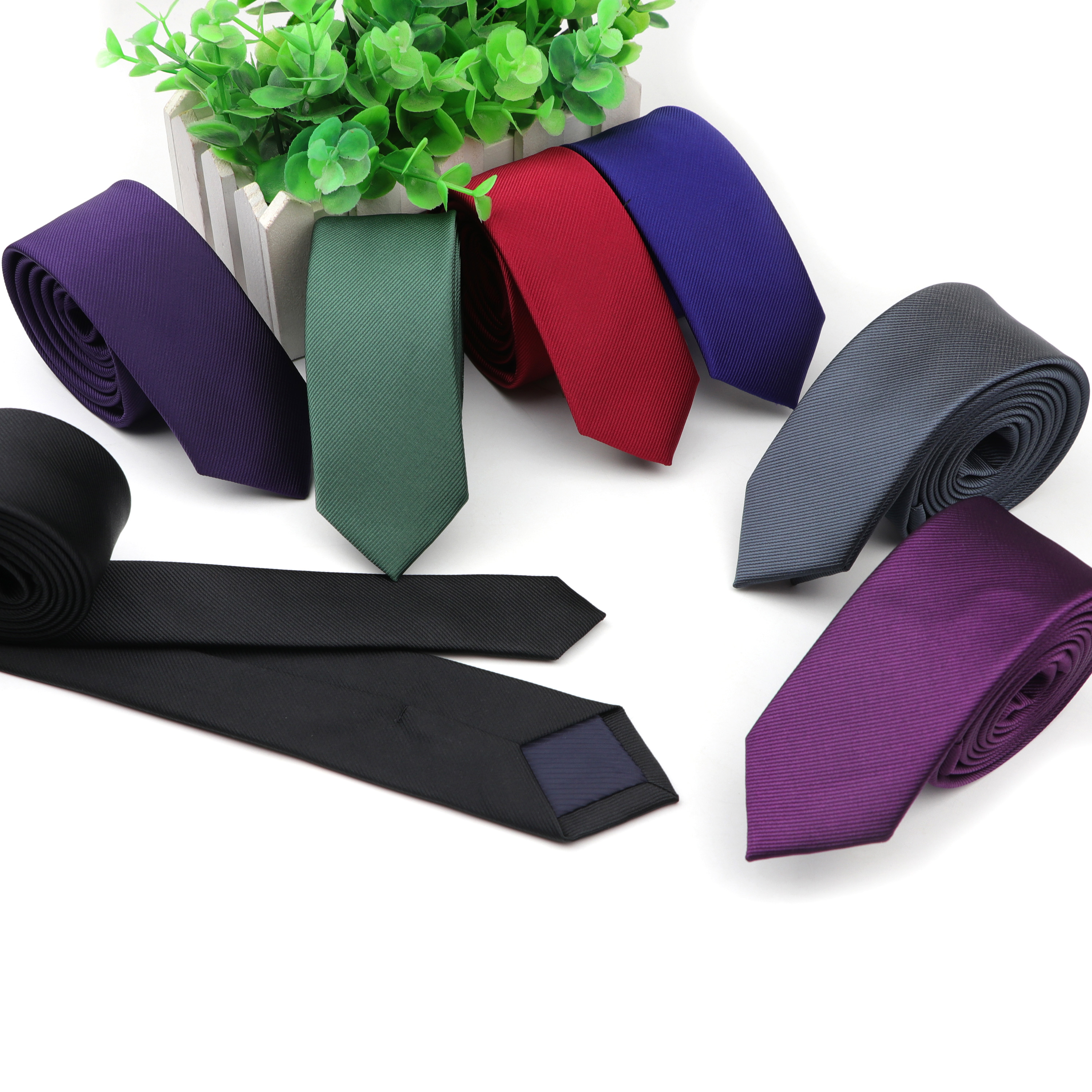 Men's Ties New Classic Solid Tie 5cm Skinny Jacquard Business Man Necktie Accessories Daily Wear Cravat Wedding Party Gift