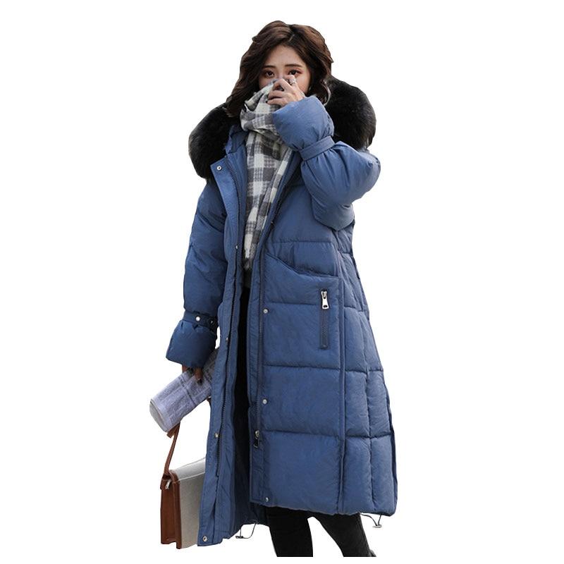 Fur   Coat   Hooded Winter   Down     Coat   Jacket Thick Heavy Warm Long Cotton padded Wadded Parkas Casaco Feminino Abrigos Mujer Invierno
