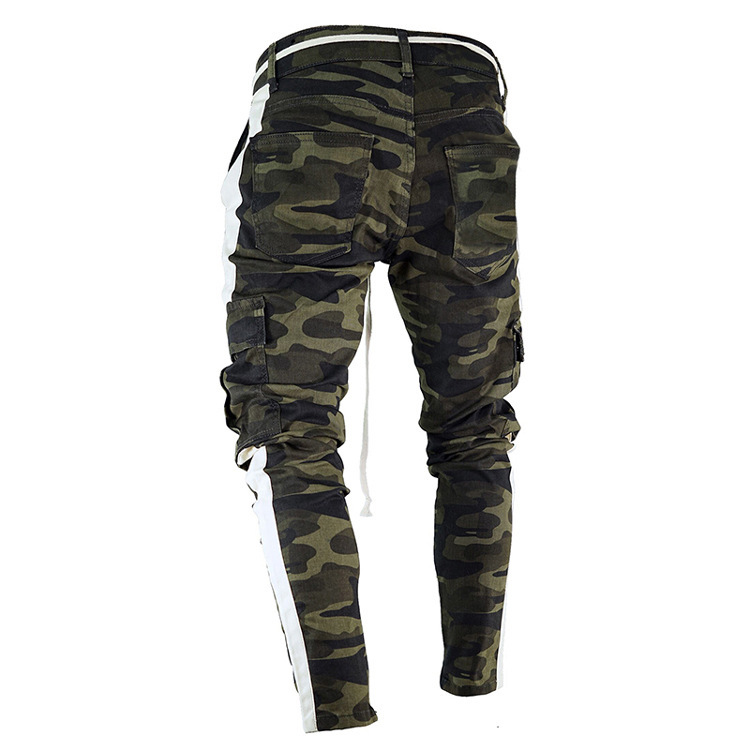 Europe And America New Style Fashion Camouflage Have Webbing Multi-pockets Youth Cowboy Skinny Men's Trousers Outside China Expo