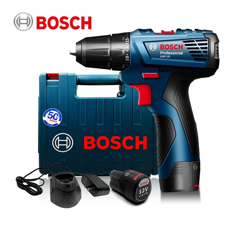 BOSCH GSR120Li New Design Power Drill DIY Lithium-Ion Battery Cordless Electric Power Driver Drill Bits Tool for Woodwork Steel
