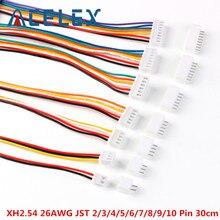 Conector de Cable JST XH2.54 XH de 2,54mm, 2/3/4/5/6/7/8/9/10 Pines, macho, hembra, enchufe de 300mm, Cable de 26AWG, 10 juegos