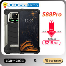 DOOGEE S88 Pro 10000mAh IP68/IP69K wytrzymały telefon komórkowy 6.3 ''FHD + Helio P70 Octa Core 6GB RAM 128GB ROM Smartphone