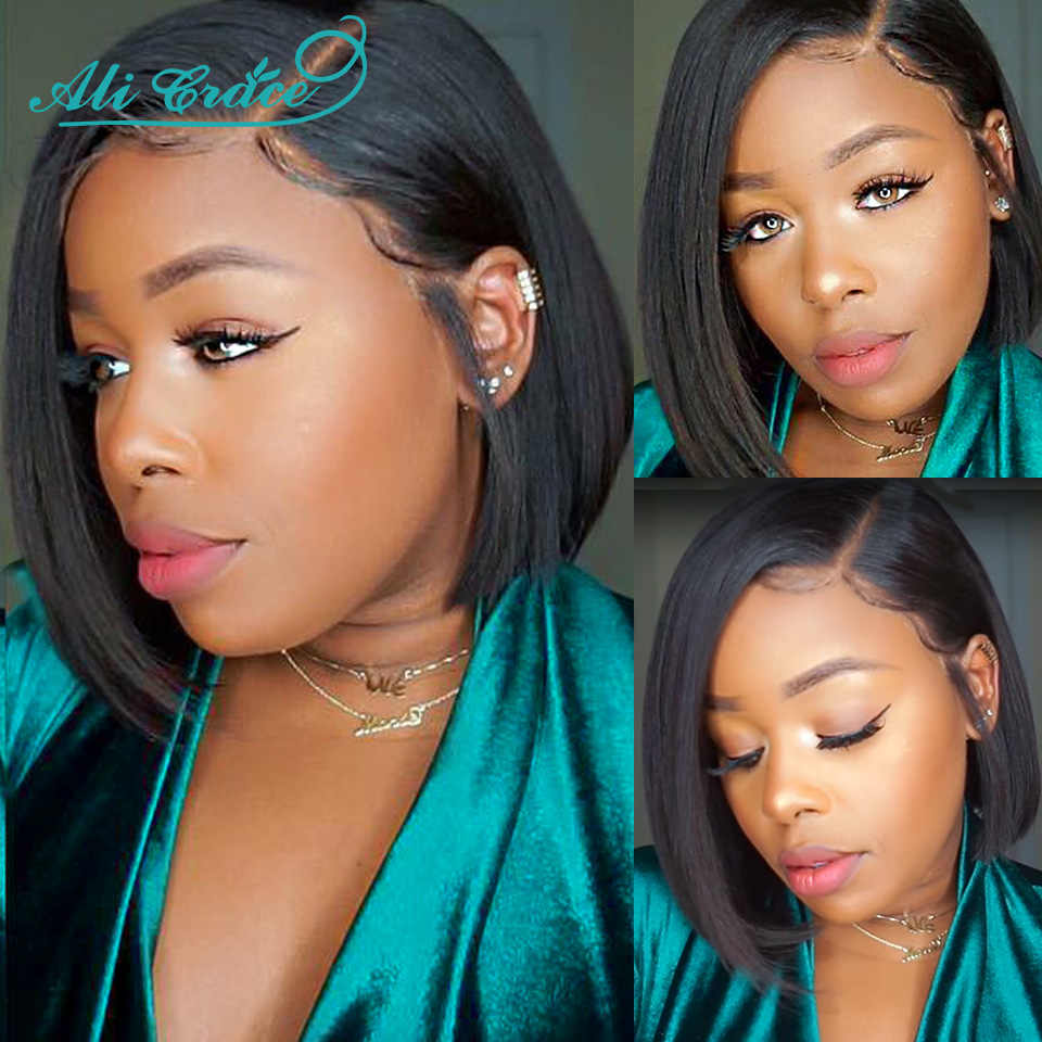 Ali Grace Bob Lace Front Wigs For Black Women Short Human Hair Wigs with Natural Hairline Brazilian Straight Lace Front Wigs Bob