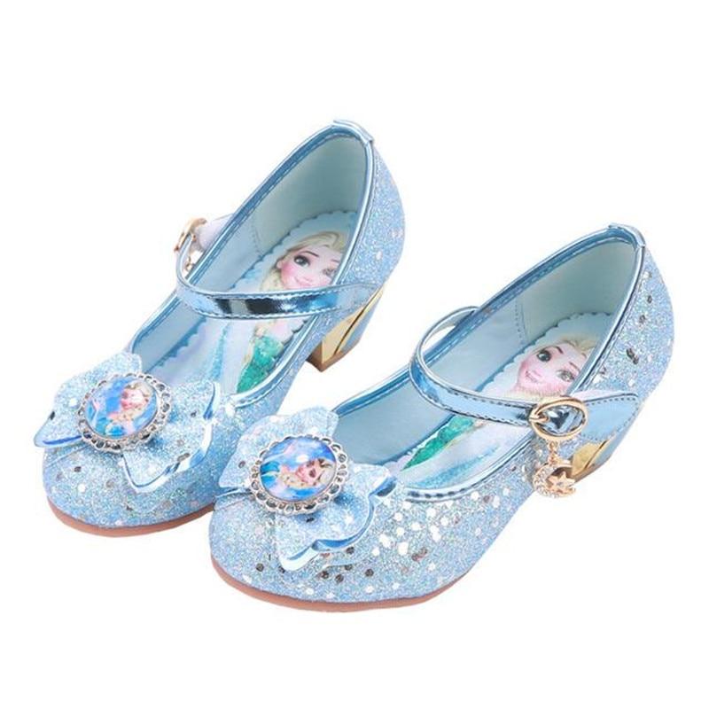 Новые модные высококачественные туфли Disney на плоской подошве для девочек, туфли принцессы «Холодное сердце», туфли с кристаллами