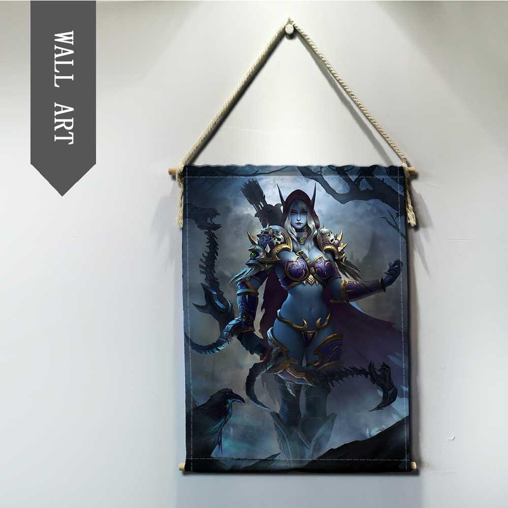 World of Warcrafts game Sylvanas Jaina Hanging Wall Art Poster Modern Solid Wood Cotton String Hanging Shaft Scroll Painting 1