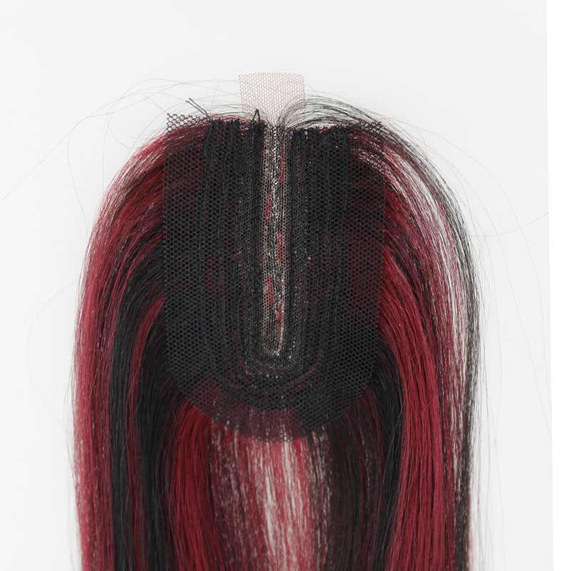 Piano Berwarna Merah Rambut Menenun dengan Penutupan Sintetis Lurus Rambut Pakan Tahan Panas Serat Ekstensi Rambut untuk Wanita