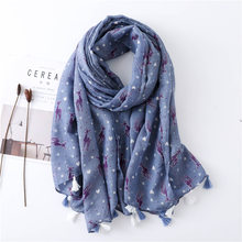 the Original Single New Literary Small Fresh Wind Color Deer Print Pattern Hand-Made Women's Scarf Shawl(China)