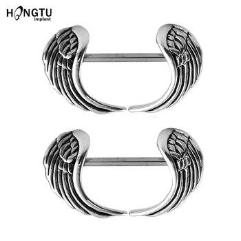 2 uds. Piercing de alas de Ángel de acero en forma de mancuerna para pezón, anillos Punk para mujer, joyería corporal, Piercing para el cuerpo, pendientes para mujer, regalo de joyería 14G