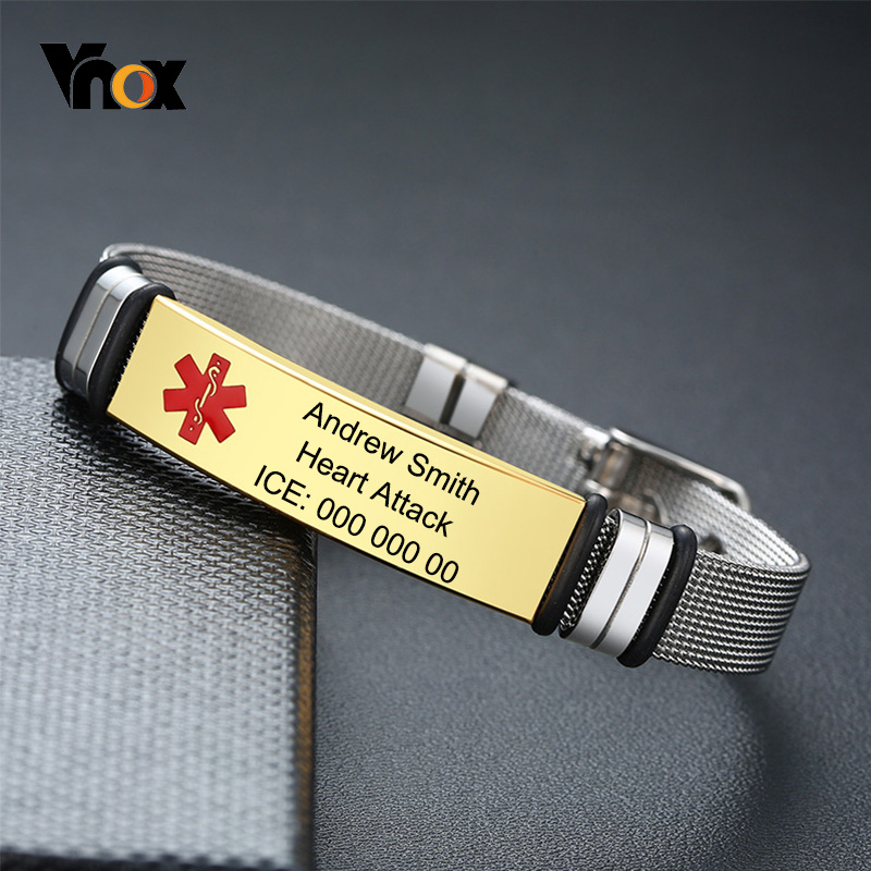 Vnox Adjustable Unisex Medical Free Personalize ID Bracelets For Women Men Stainless Steel Mesh Band Customize Type 2 Diabetes