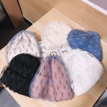 Осенне зимняя вязаная сетчатая шапка бини Женская универсальная