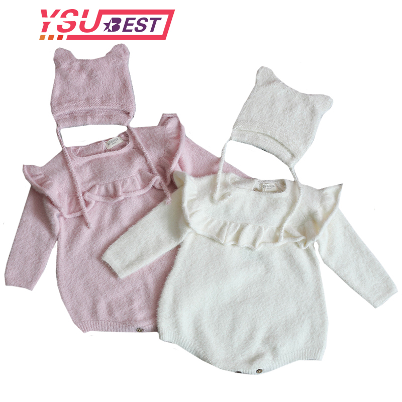 Baby Girl's Knit   Rompers   Long Sleeve Velvet Knitted   Rompers   Baby Princess Triangle Jumpsuit Toddler Kid's Autumn Winter Clothing