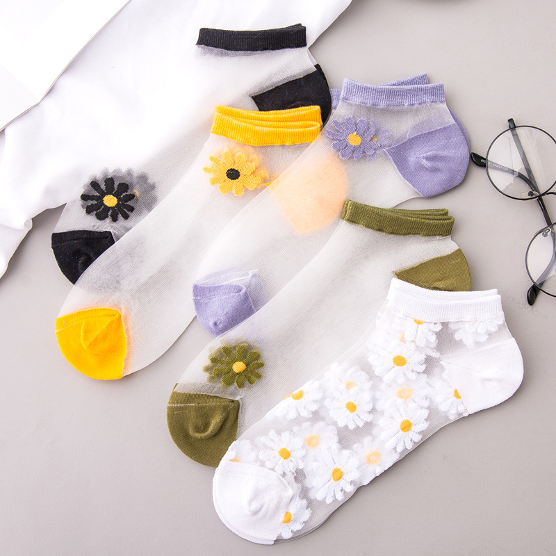 SP&CITY 5 Pairs Summer Transparent Flower Print Socks Women Thin Fishnet Short Socks Hollow Out Colored Ankle Socks Cheap Funny